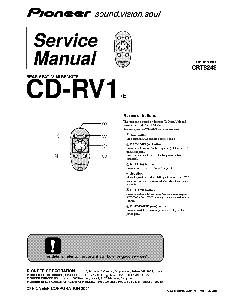 PIONEER CD-RV1 Service Manual download, schematics, eeprom