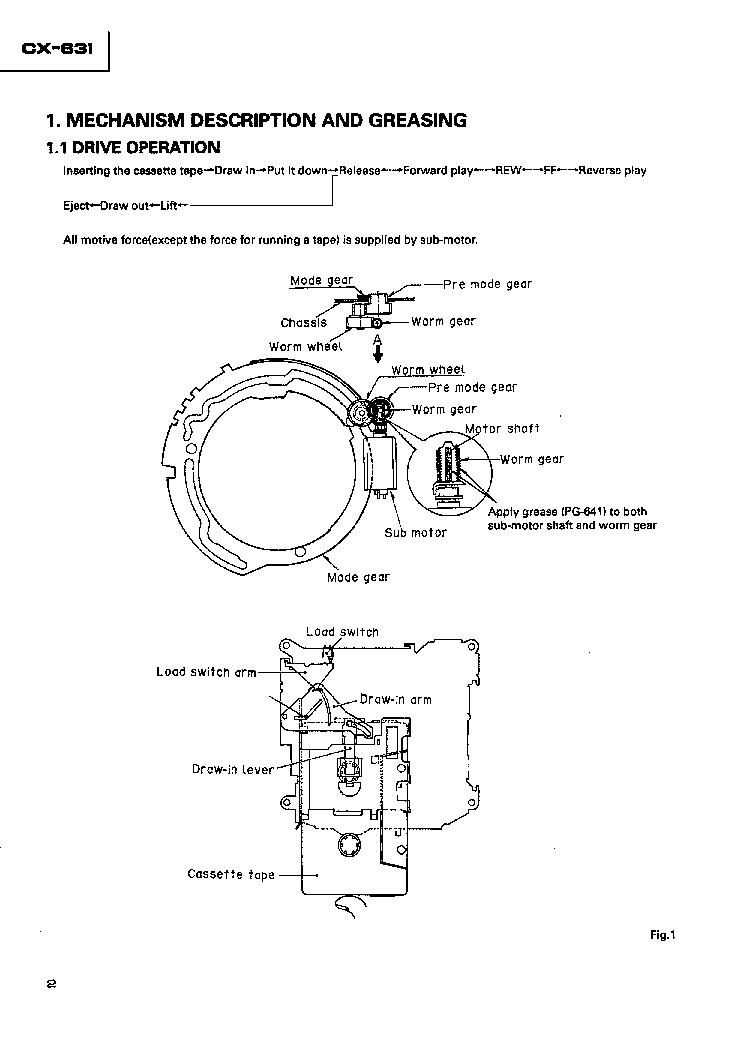 PIONEER CX-631 CASSETTE MECHANISM ASSY Service Manual