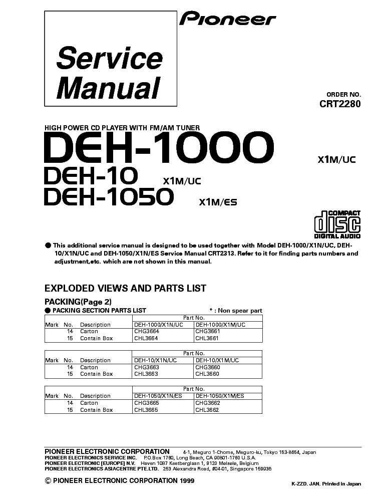 pioneer_deh 1000_deh 10_deh 1050_parts_crt2280.pdf_1 pioneer deh 1000 wiring diagram pioneer deh 1000 wiring diagram at reclaimingppi.co