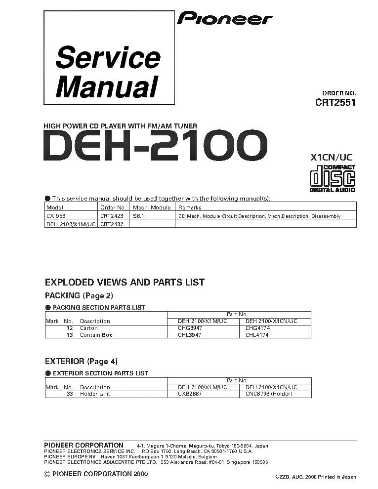 pioneer mosfet 45wx4 wiring diagram volvo v70 1998 deh 2100 radio toyskids co 31 images car