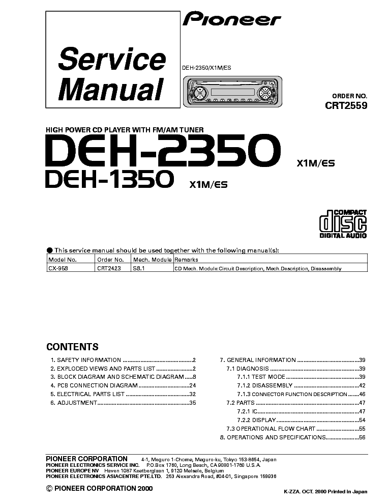 pioneer car cd player wiring diagram for house light switch deh 2350 1350 audio service manual download schematics 1st page