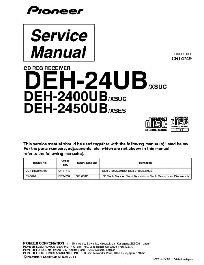 pioneer deh24ub 2400ub 2450ub crt4749 parts service manual