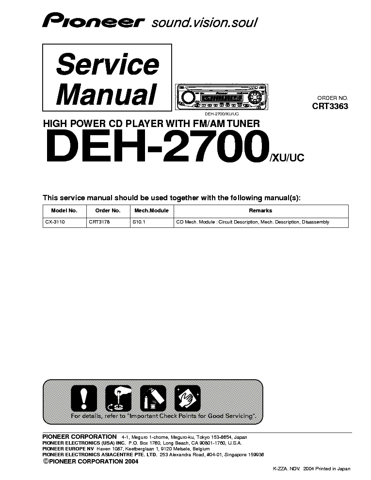 PIONEER DEH 2700 Service Manual Download Schematics Eeprom