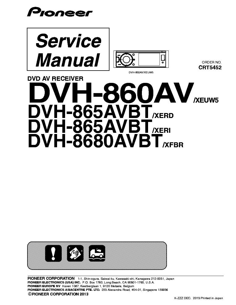 PIONEER DVH-860AV DVH-865AVBT DVH-8680AVBT CRT5452 CAR DVD
