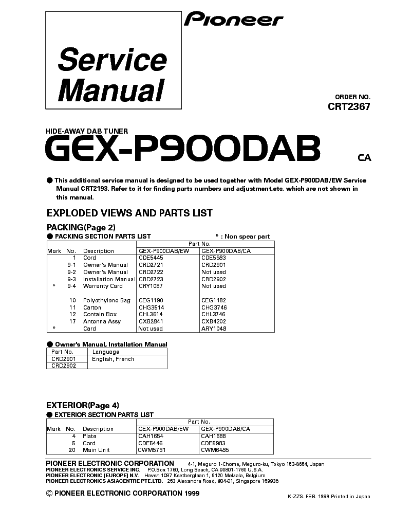 PIONEER GEX-P900DAB PARTS Service Manual download