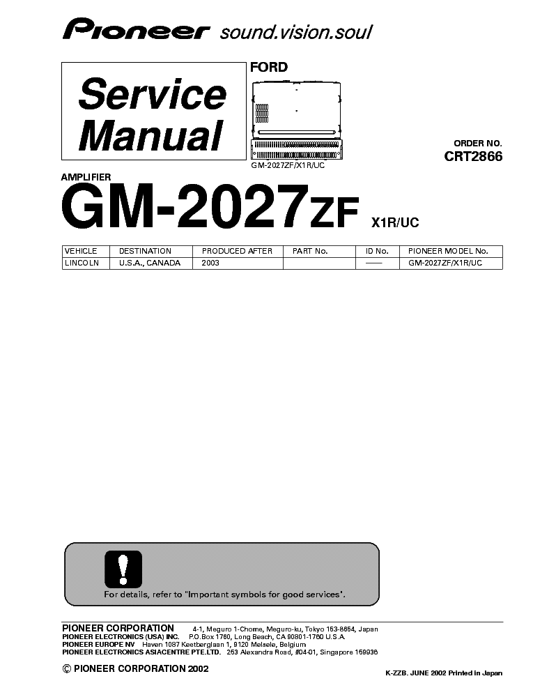 PIONEER GM-2027ZF Service Manual download, schematics