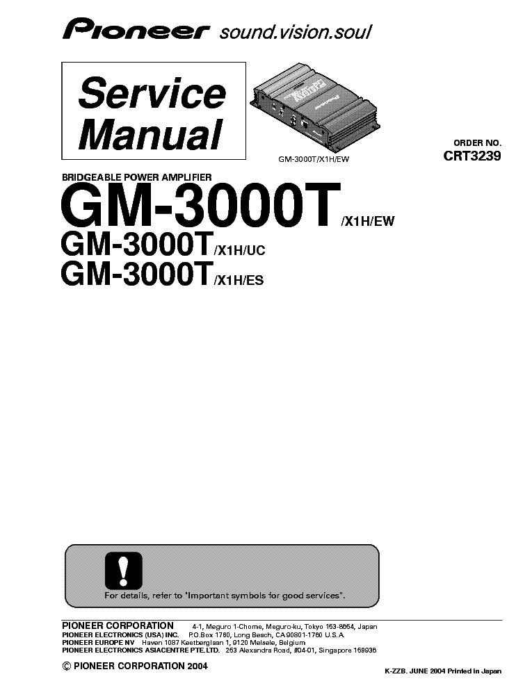 PIONEER GM-3000T Service Manual download, schematics