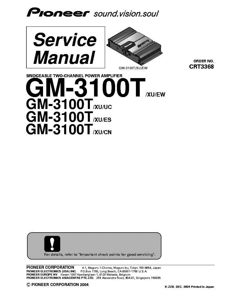 PIONEER GM-D510M SM Service Manual free download