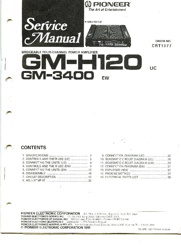 hight resolution of pioneer gm 3400 h120 sch service manual download schematics eeprom pioneer gm 3400 wiring diagram