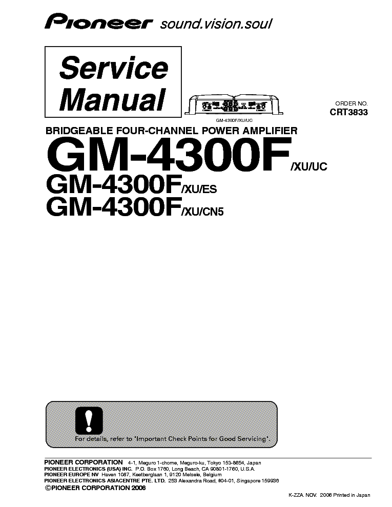 PIONEER GM-4300F Service Manual download, schematics