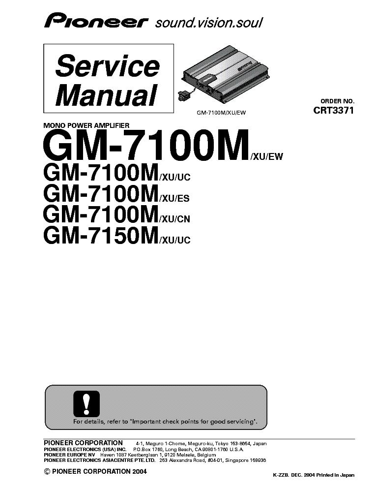 PIONEER GM-7100M 7150M XU-UC-ES-CN-EW SM Service Manual