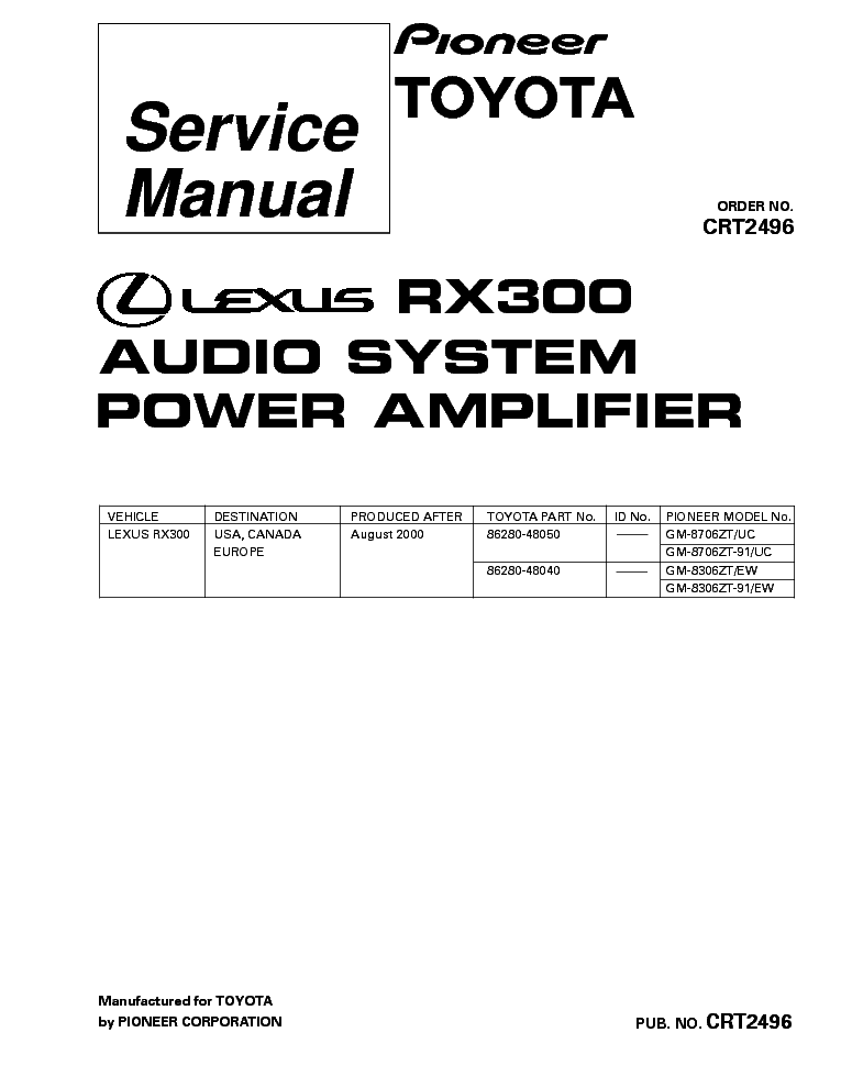 PIONEER GM-8706 GM-8306 RX300 TOYOTA SM Service Manual