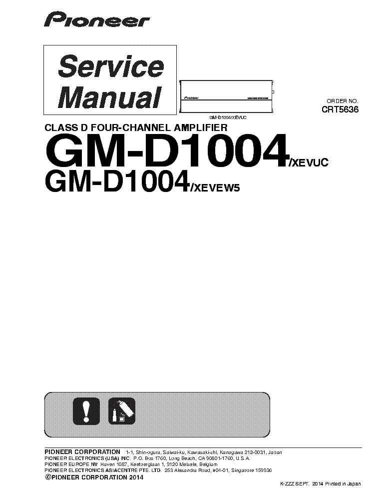 PIONEER GM-D1004 CRT5636 Service Manual download