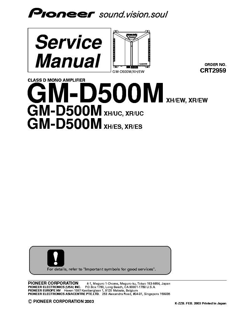 PIONEER GM-D500M SM Service Manual download, schematics