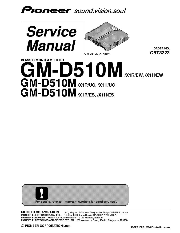PIONEER GM-D510M SM Service Manual download, schematics
