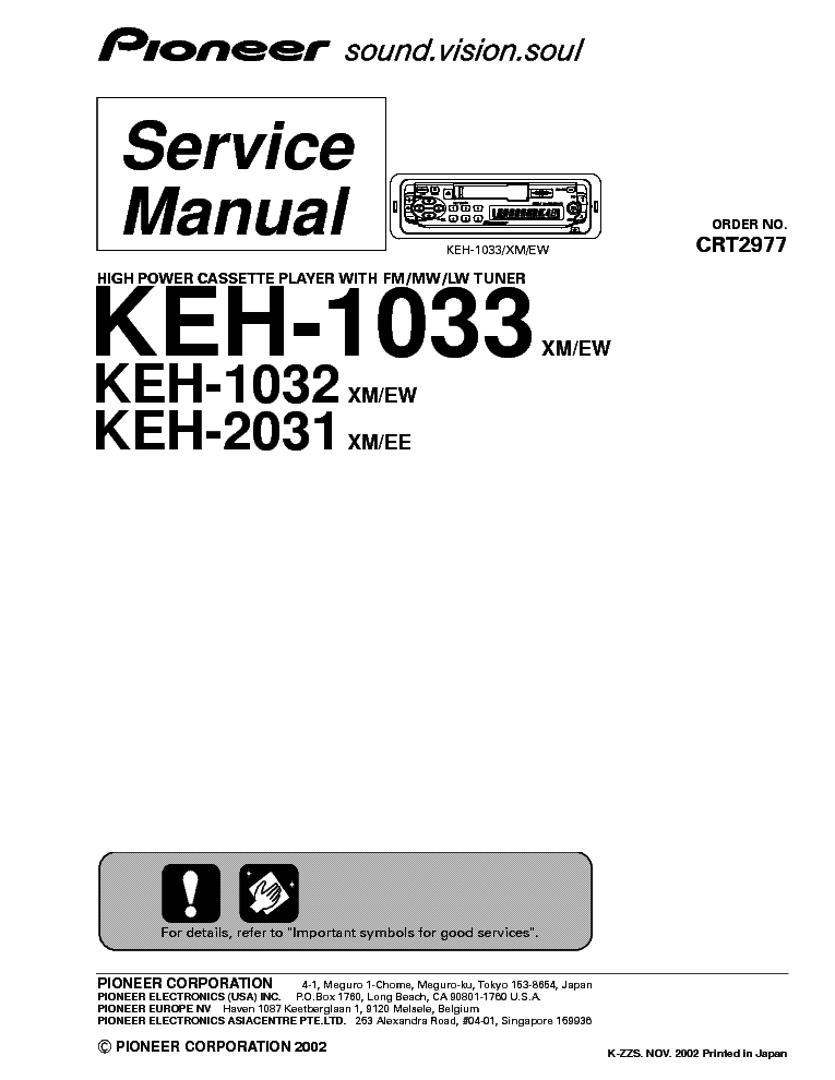 PIONEER KEH-1032 KEH-1033 KEH-2031 Service Manual download