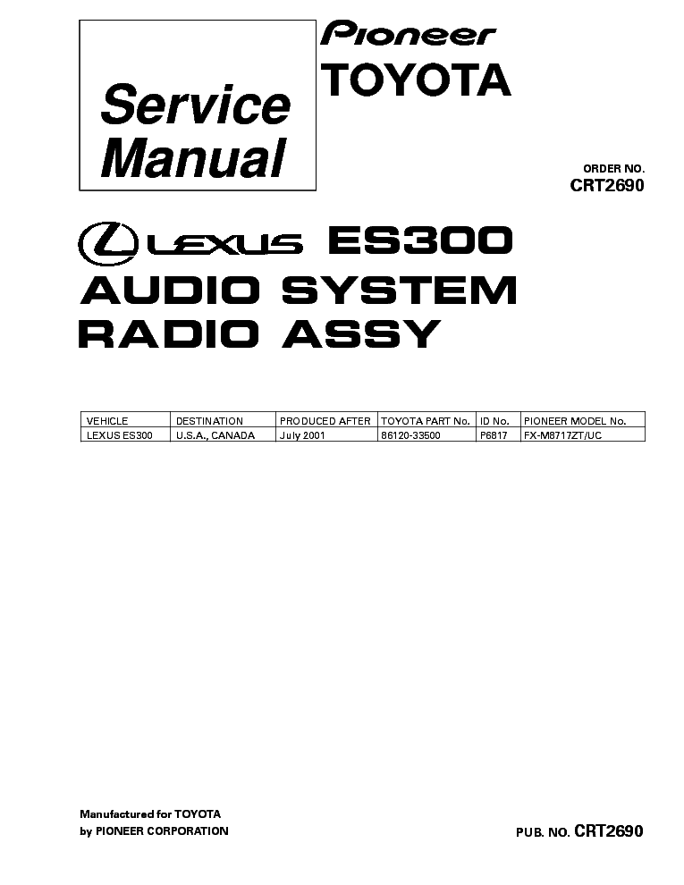 PIONEER DEH-P500UB P5000UB Service Manual free download