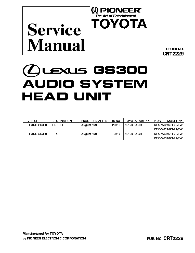 PIONEER GM-X252 SM Service Manual free download