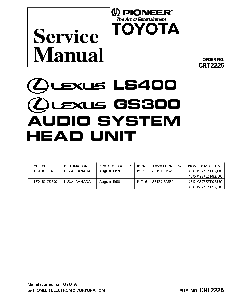 PIONEER DEH-4700MP CRT3398 SM Service Manual free download