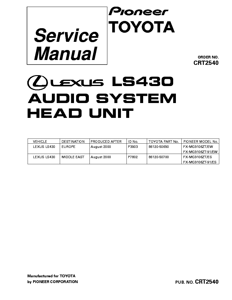 PIONEER LEXUS LS430 FX-MG9106 CRT2540 Service Manual
