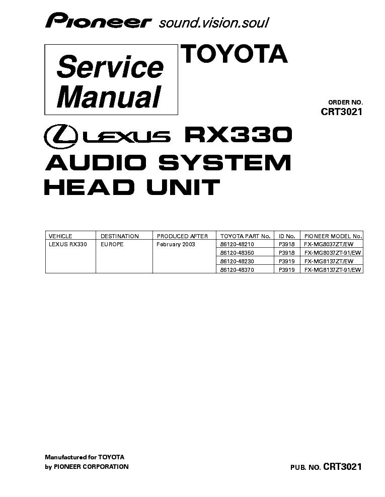 PIONEER LEXUS RX330 FX-MG8037 MG8137-CRT3021- Service