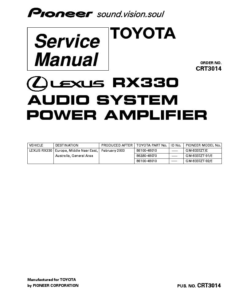 PIONEER LEXUS RX330 GM-8337 CRT3014 Service Manual