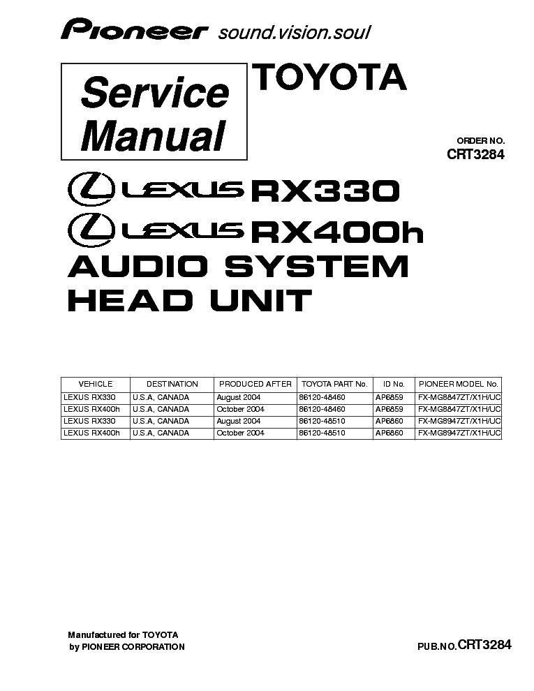 PIONEER LEXUS RX330 RX400H FX-MG8847 MG8947 CRT3284