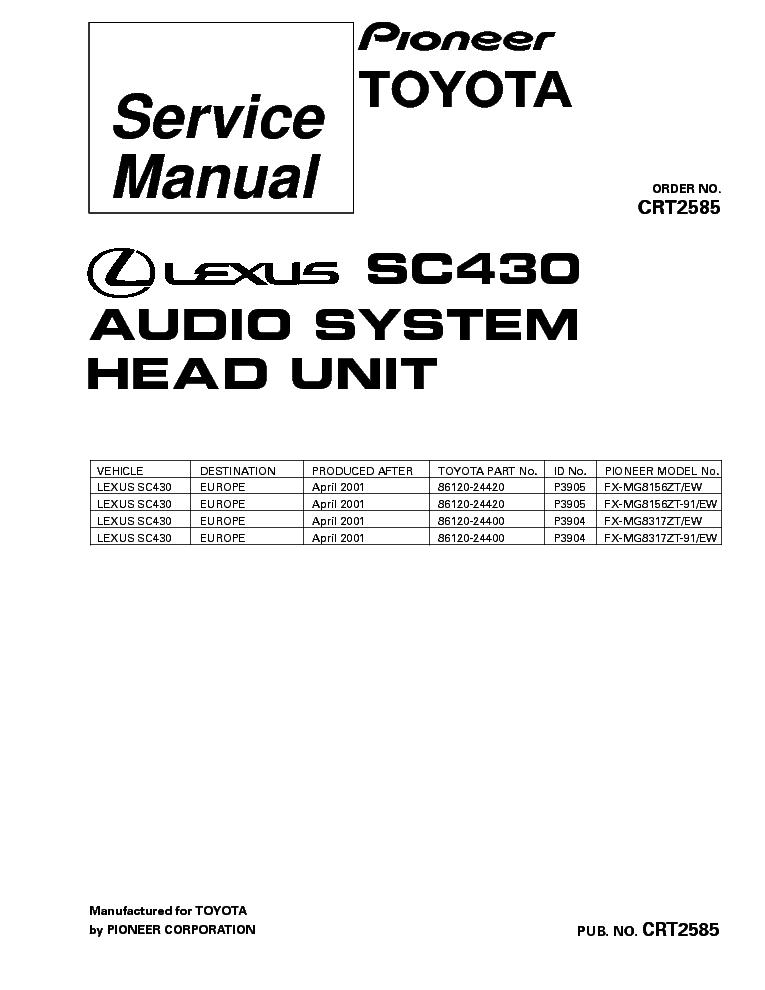 PIONEER LEXUS SC430 FX-MG8156 MG8317 CRT2585 Service