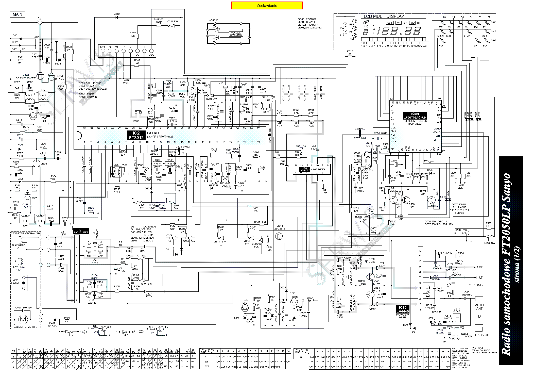 SANYO FT2050LP Service Manual download, schematics, eeprom