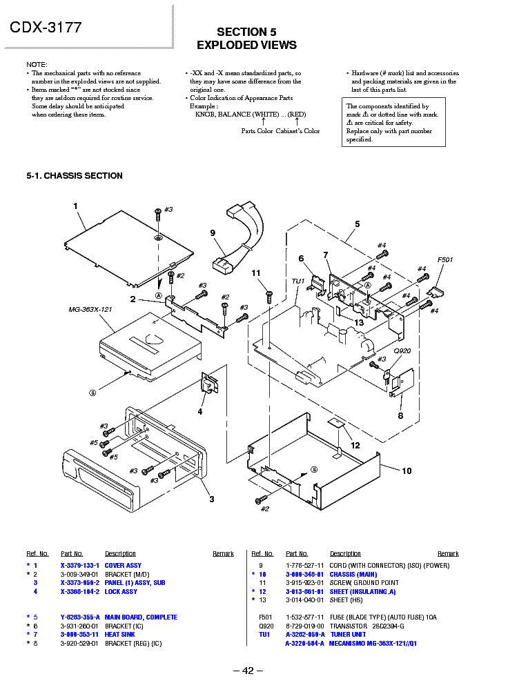 SONY CDX-3177 SCH Service Manual download, schematics