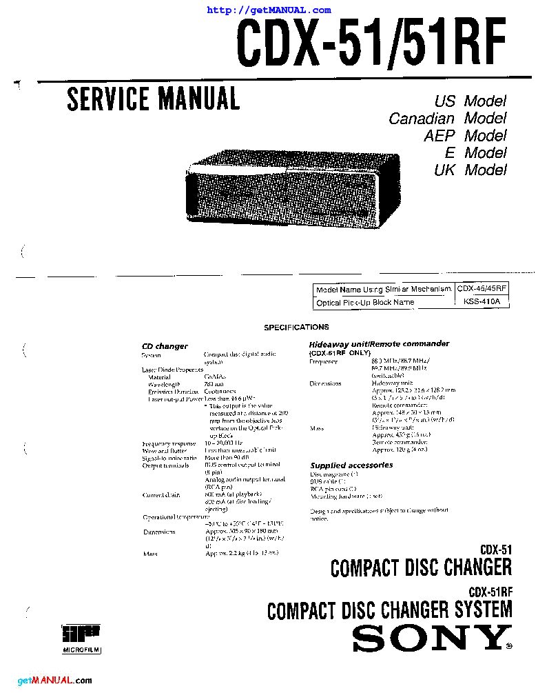 SONY CDX-51 51RF Service Manual download, schematics