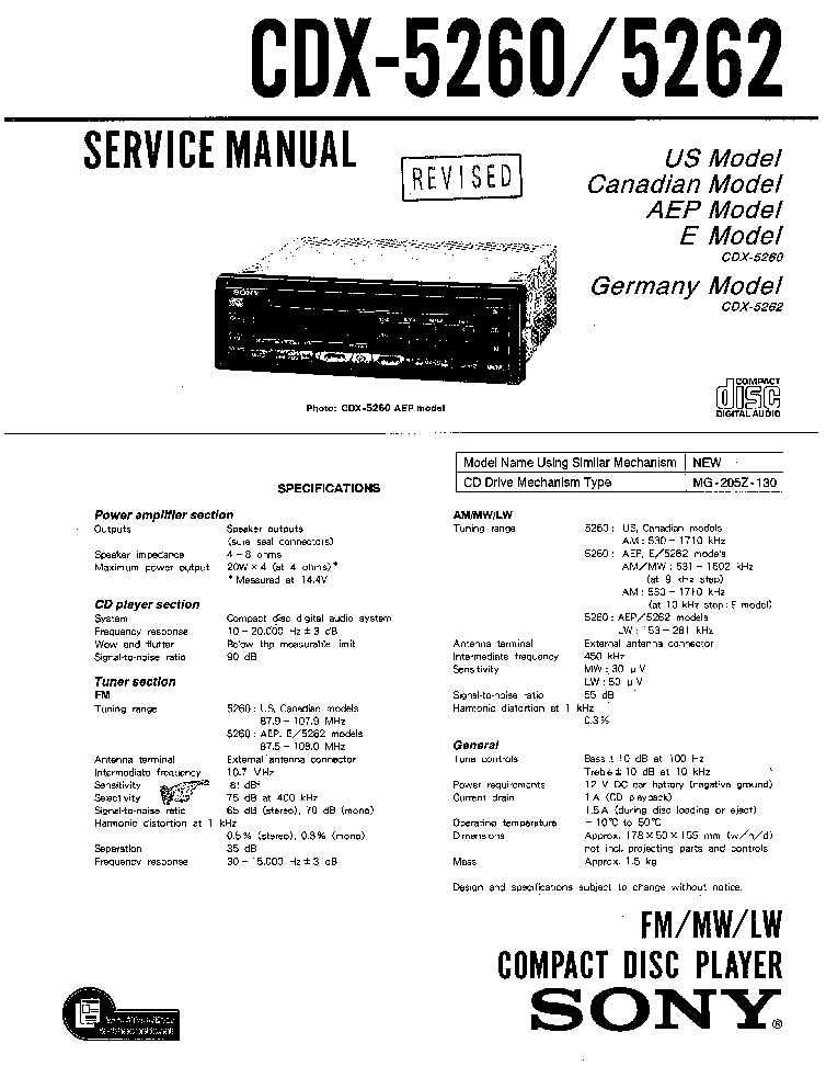 SONY CDX-L380X Service Manual free download, schematics