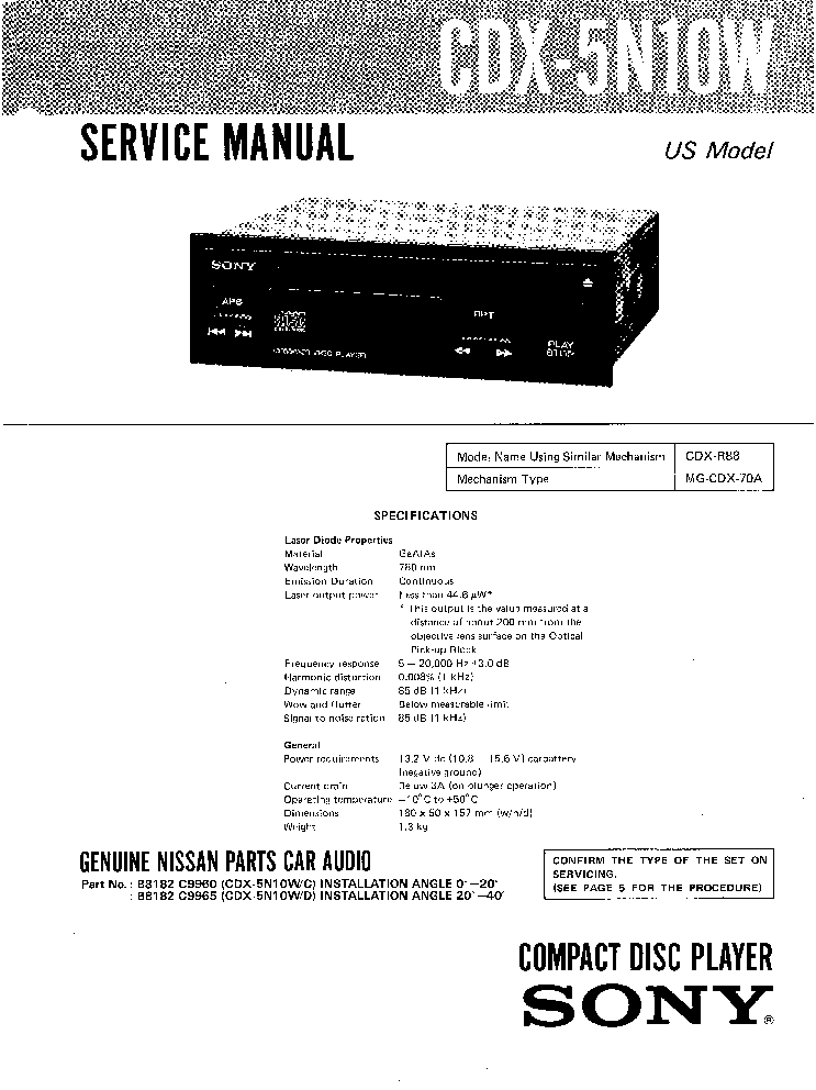 SONY CDX-5N10W CAR AUDIO Service Manual download