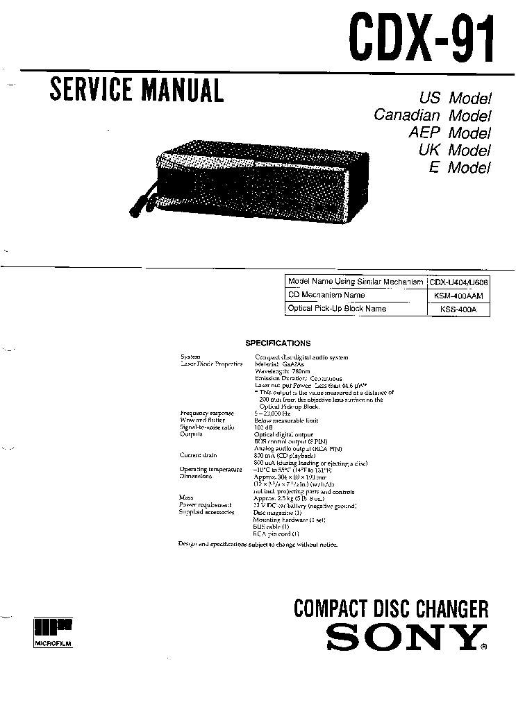 SONY CDX-91 SM Service Manual download, schematics, eeprom