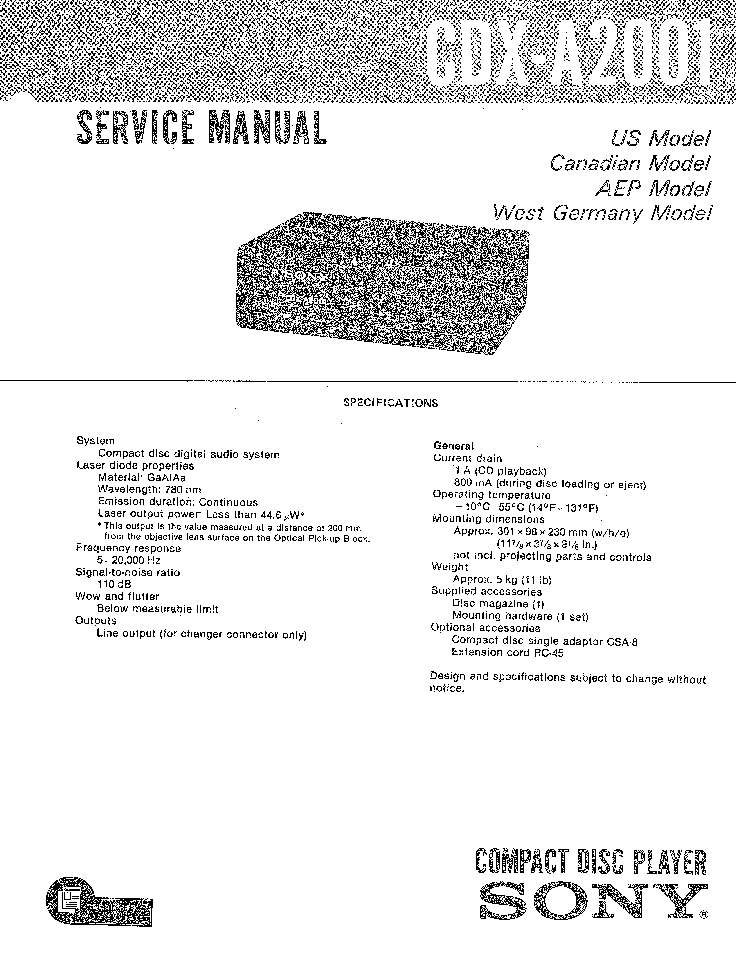 SONY CDX-A2001 Service Manual download, schematics, eeprom
