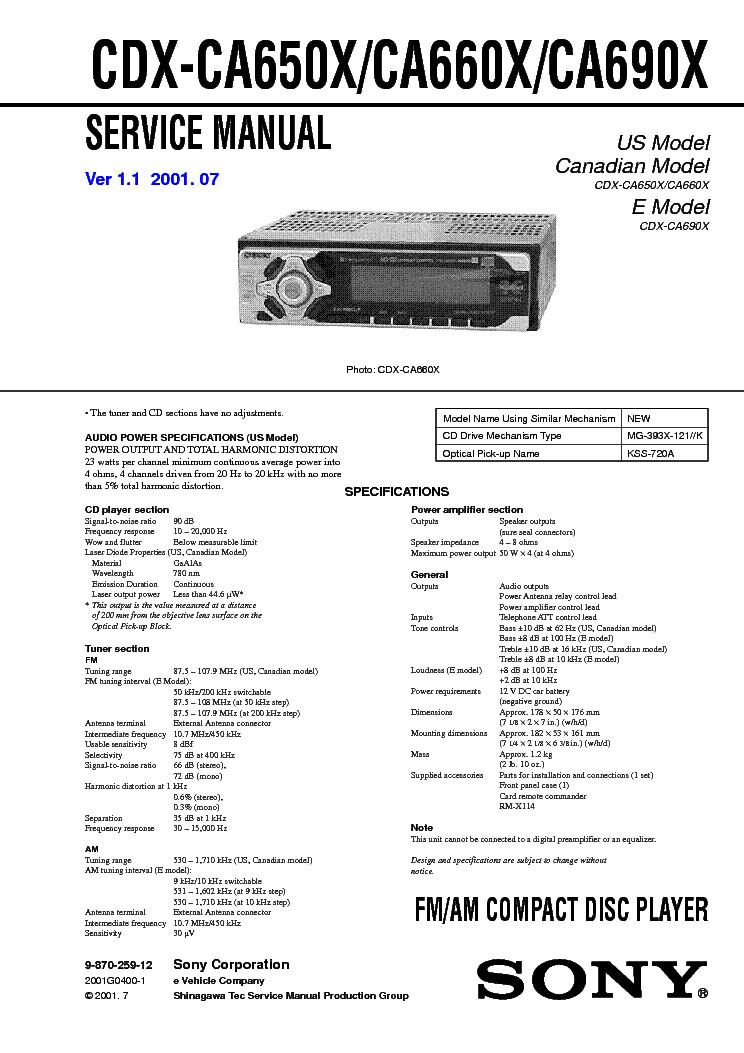 SONY CDX CA650X CA660X CA690X VER 1 1 SM Service Manual Download