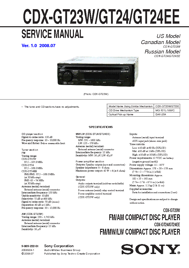 Sony cdx f radio wiring diagram m
