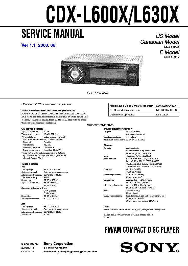 sony cdx l510x wiring diagram 2003 suzuki eiger 400 ver 1 sm service manual download schematics