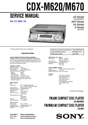 SONY CDXM620,M670 Service Manual download, schematics