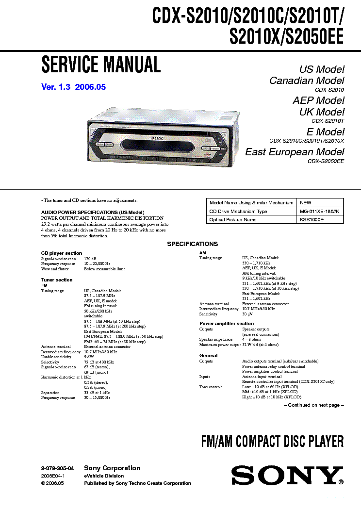SONY CDX S2010 C T X S2050EE VER 1 3 SM Service Manual Download