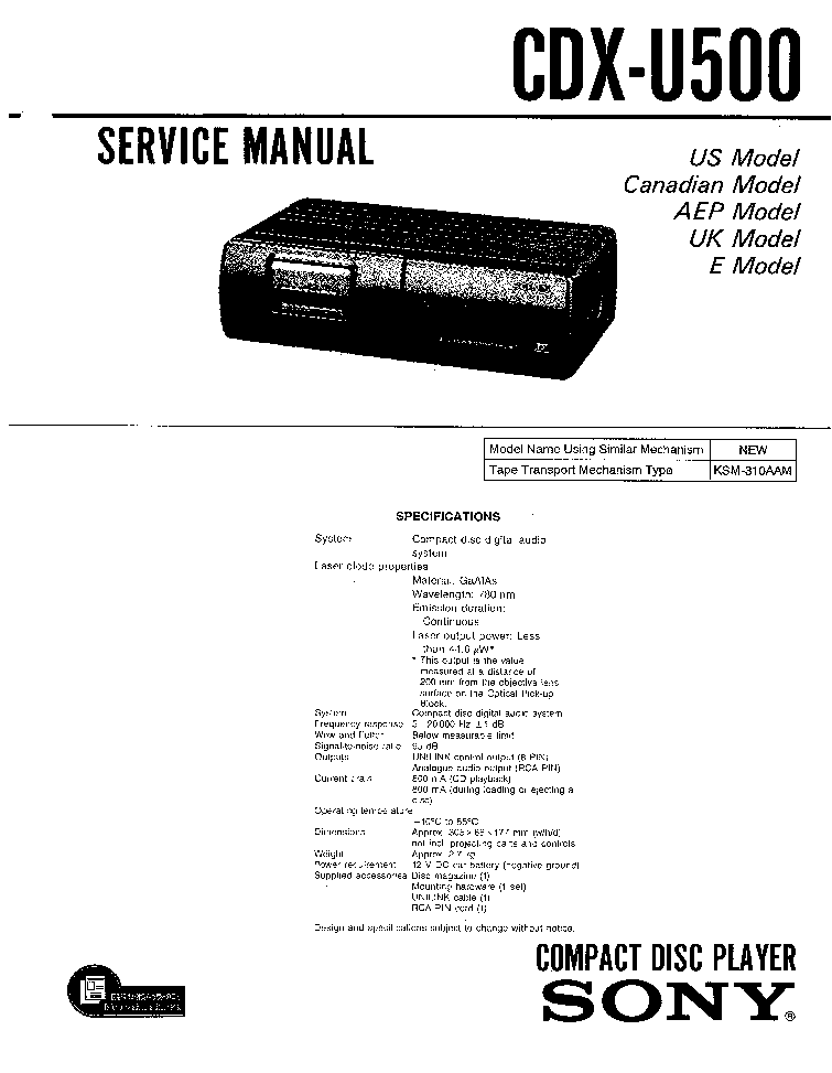 SONY CFD-50 Service Manual download, schematics, eeprom
