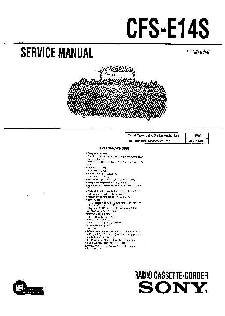SONY CFS-E14S Service Manual download, schematics, eeprom