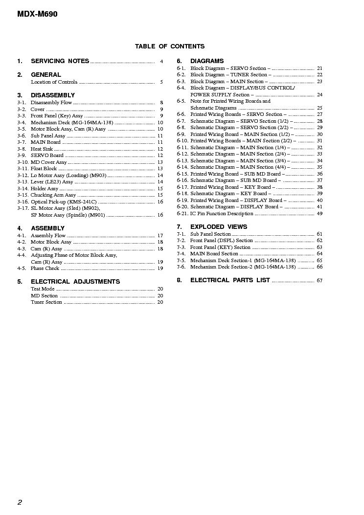 SONY MDX-M690 Service Manual download, schematics, eeprom