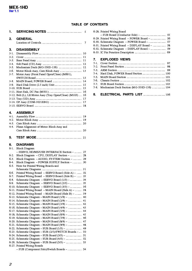 SONY MEX-1HD VER-1.3 SM Service Manual download