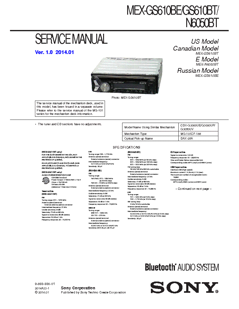 SONY MEX-GS610BE BT MEX-N6050BT VER1.0 Service Manual