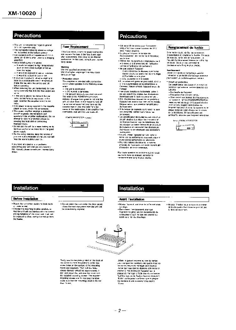 SONY XM-10020 SM Service Manual download, schematics