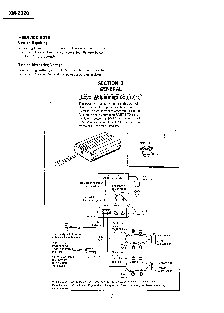 SONY XM-2020 SM Service Manual download, schematics