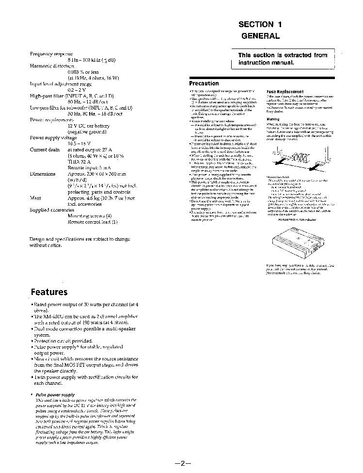 SONY XM-450G SM Service Manual download, schematics