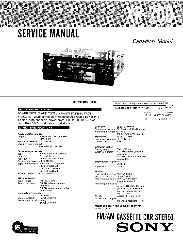 SONY XR-200 Service Manual download, schematics, eeprom