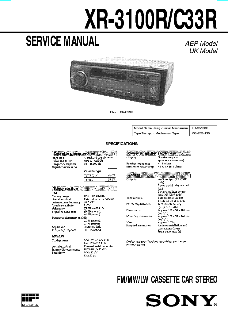 SONY XR-C200 202MK2 Service Manual download, schematics